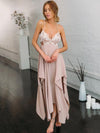 Asymmetric Spaghetti-neck Sequined Maxi Dress