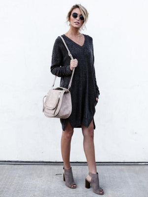 Solid Color V-neck Sweater Dress