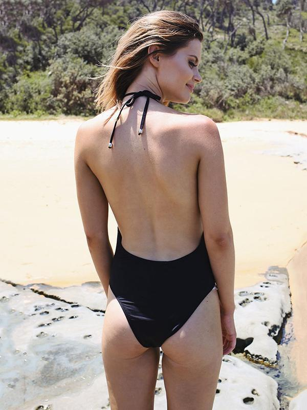 Halterneck Backless One-Piece Bikini Swimwear