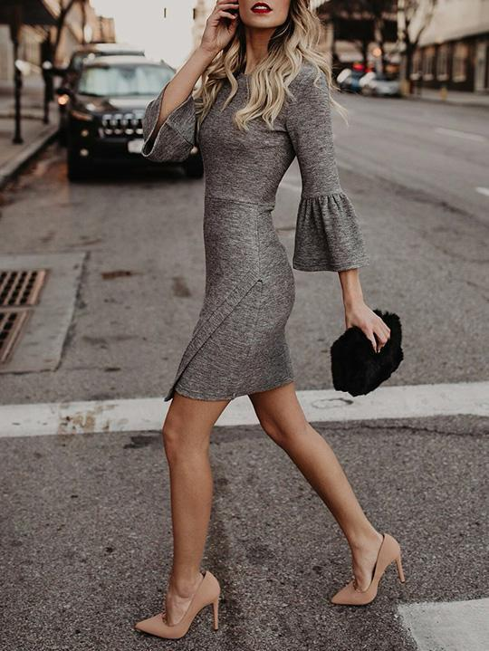 Flared Sleeves Bodycon Waisted Mini Dress