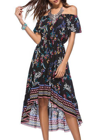 Bohemia Floral-printed V-neck Mini Dress
