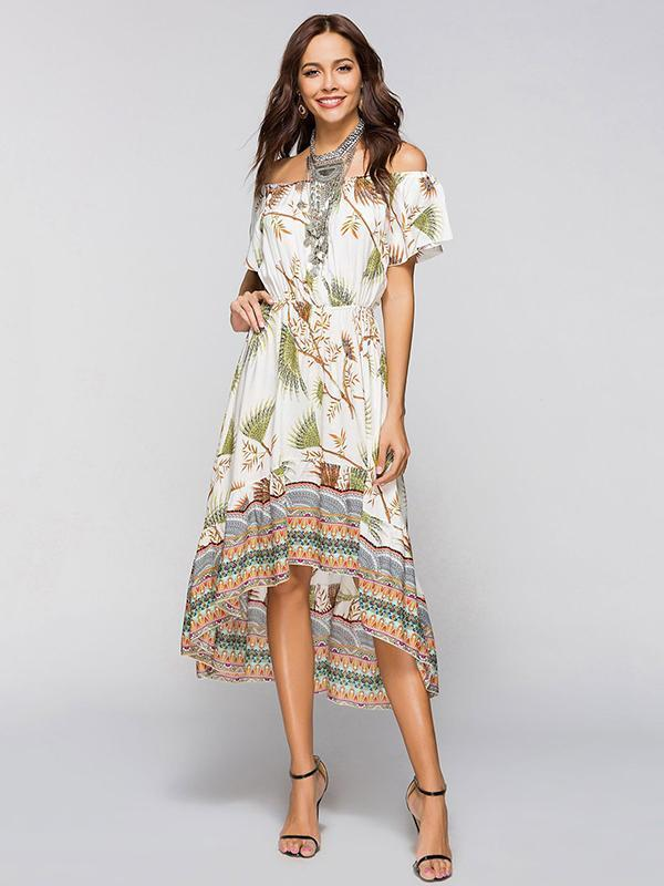 Asymmetric Printed Off-the-shoulder Midi Dress