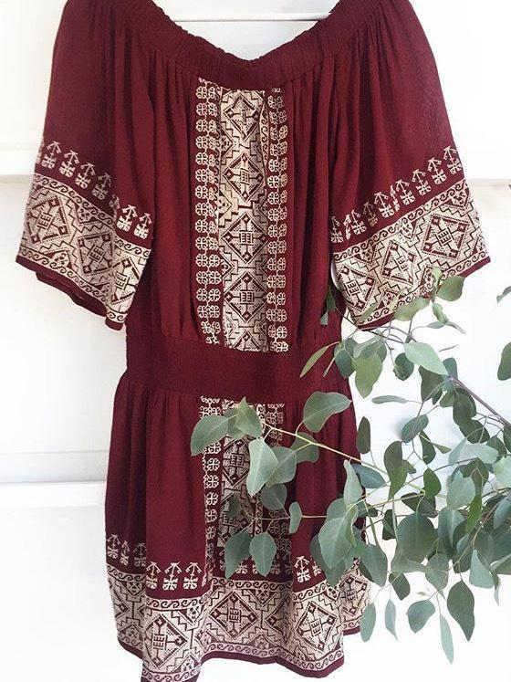 Embroidered Off-the-shoulder 3/4 Sleeves Mini Dress