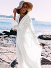 Lace V-neck Hollow Maxi Cover-Up Dress