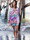 Printed Batwing Sleeves Cover-Up Tops
