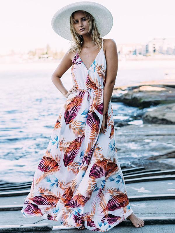 Bohemia Spaghetti V-neck Beach Maxi Dress