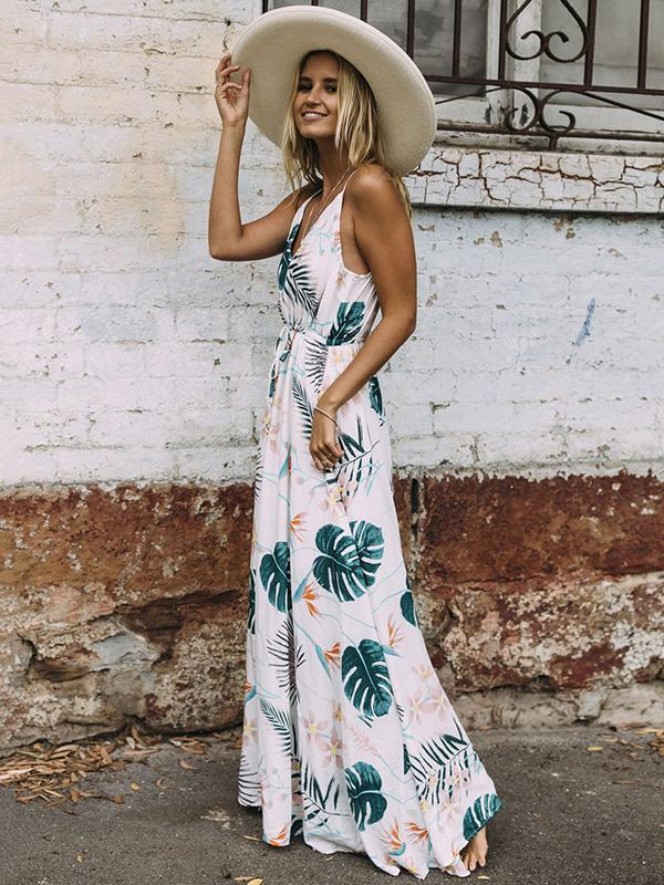 Printed Spaghetti V-neck Beach Maxi Dress