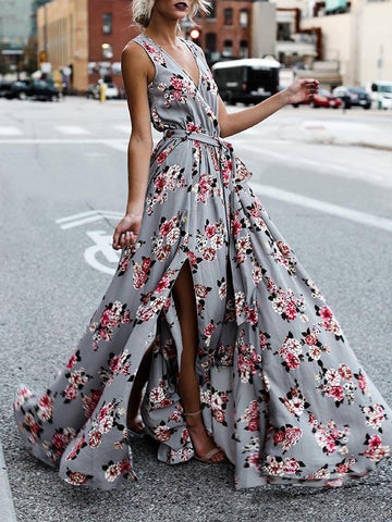 Printed Spaghetti-neck Maxi Dress