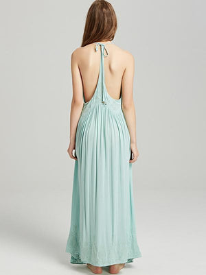 Bohemia Solid Color Spaghetti-neck Maxi Dress