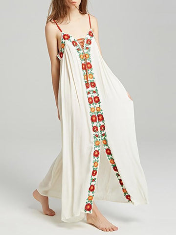 Colorful Embroidered Strapless Maxi Dress