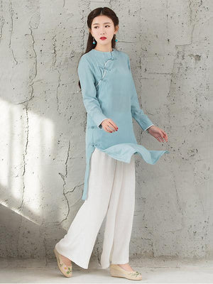 National Linen Wide Leg White Loose Casual Pant