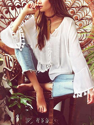 V-neck Flared Sleeves Tassel Blouse Shirt Tops