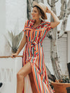 V-neck Short Sleeve Split-side Stripe Maxi Dress
