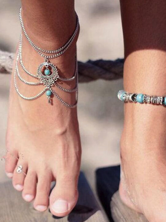 Pretty Tassels Water Drops Shapes Footchain Accessories