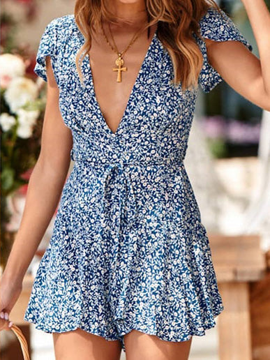 Loose V-neck Short Sleeves Printed Rompers