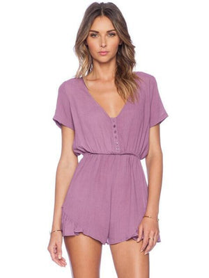Solid Color V-neck Bohemia Romper