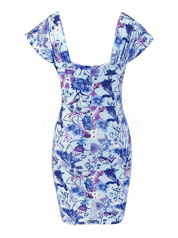 Floral Printed Collect Waist Mini Dress
