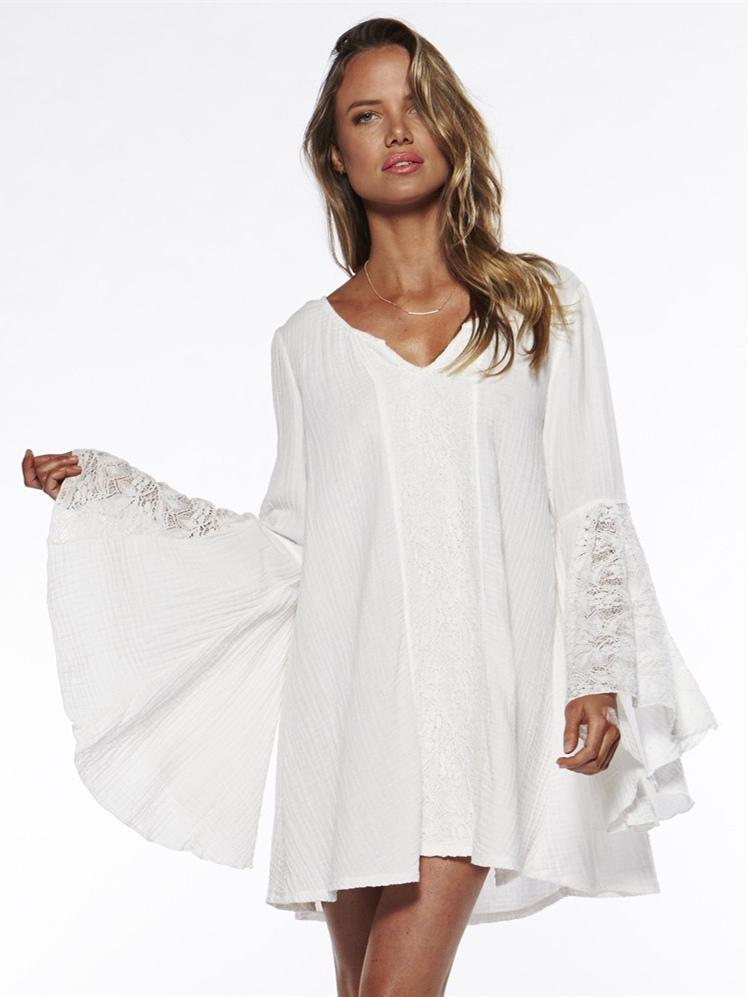 Pretty Sexy Solid Color Half Sleeve Long Sleeve V Neck Beach Vacation Cover-Ups Mini Dress