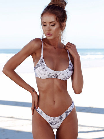 Floral Printed Lace-Up Bikinis Swimwear