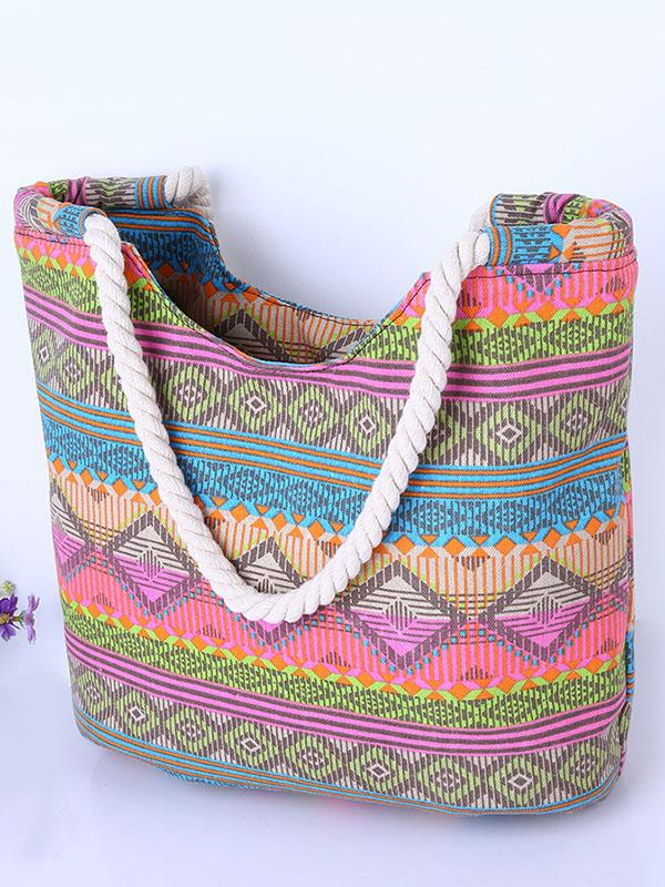 Fashion Floral Striped Decorated Bag