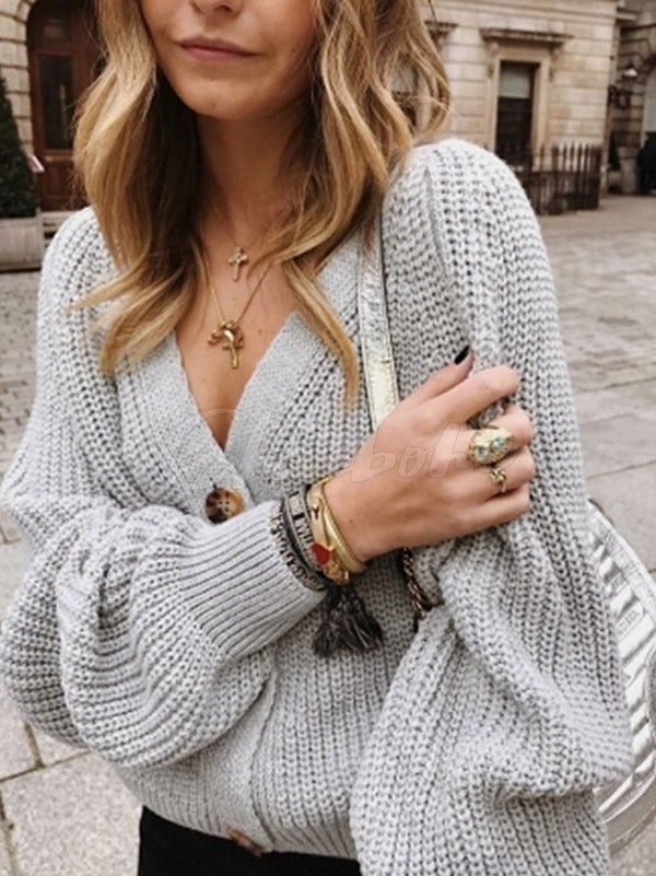 Loose Plain Buttonigan V-neck Sweater
