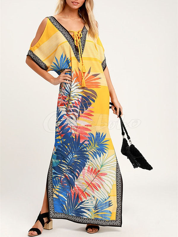 Printed V-neck Robes Beach Maxi Dress