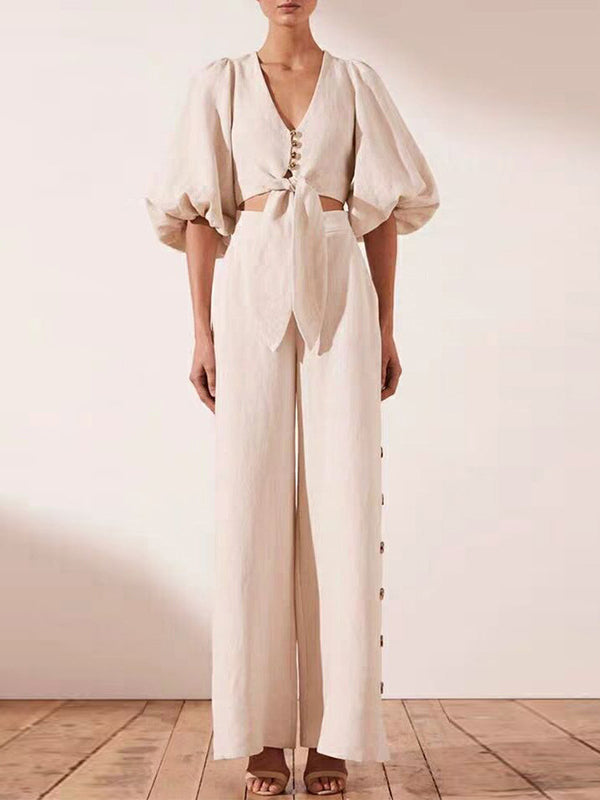 Fashion Lantern Sleeve Belted Tops&High Waist Wide Leg Pants Suits