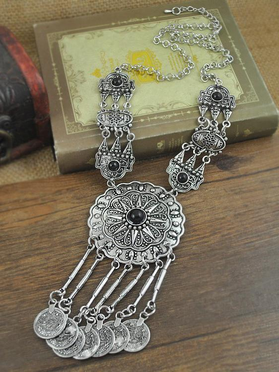 Bohemia Carving Coin Tassels Necklaces Accessories