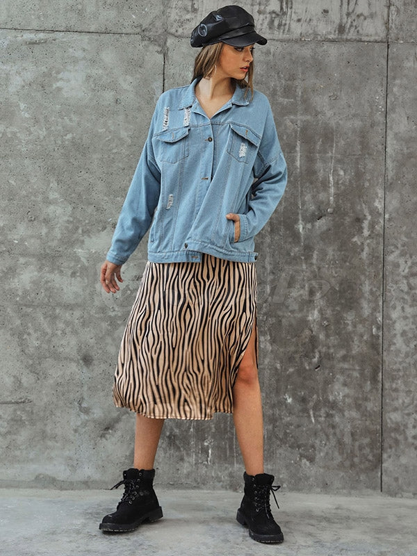 Hole Wash Denim Coat
