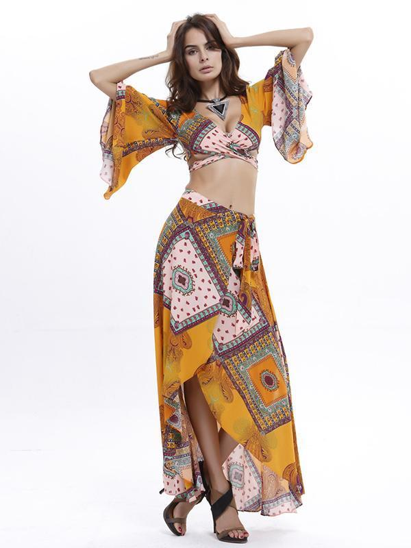 Floral V-neck Flare Sleeves Tops And Asymmetry Front-split Skirt Bottoms