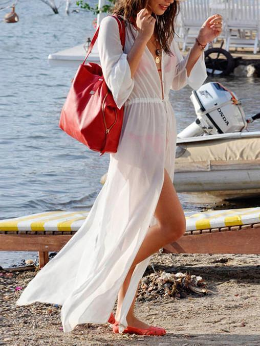 Sexy White Long Sleeve Chiffon Maxi Beach Dress Cover-up