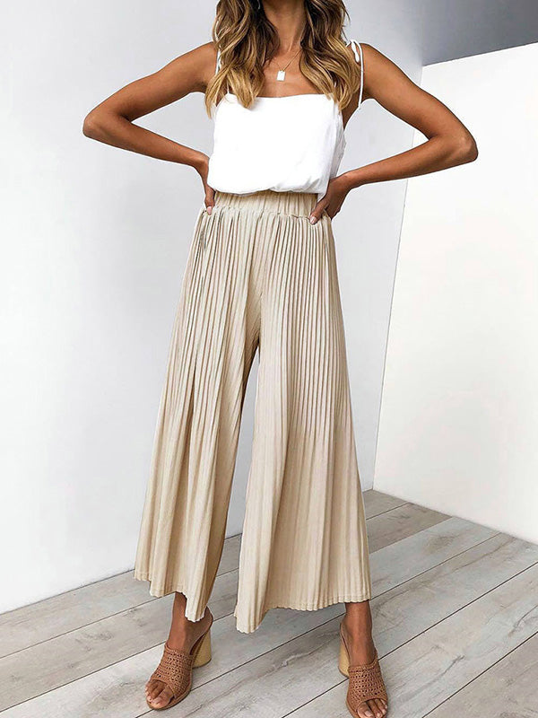 Ruffled Solid Loose Wide-leg Pants