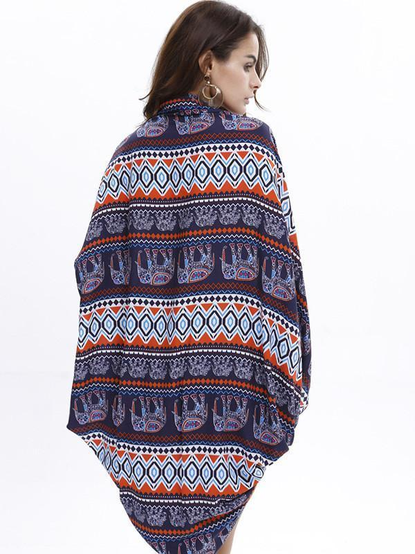 Fashion Bohemia Printed Half Sleeve Shawl Cover-up Tops