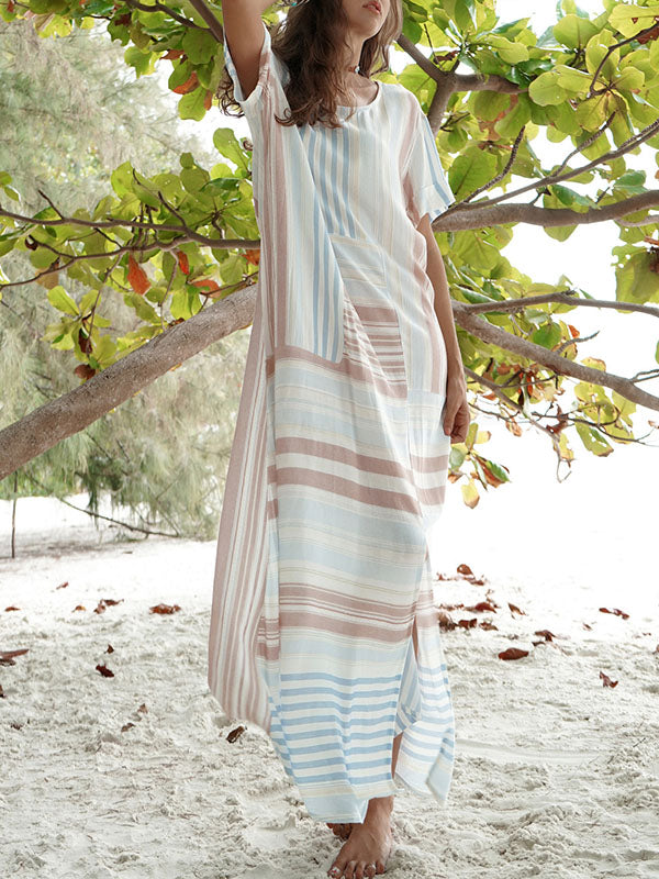Cotton Linen Split-side Stripe Beach Maxi Dresses
