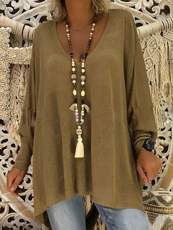 Casual Loose V-neck Blouses Top