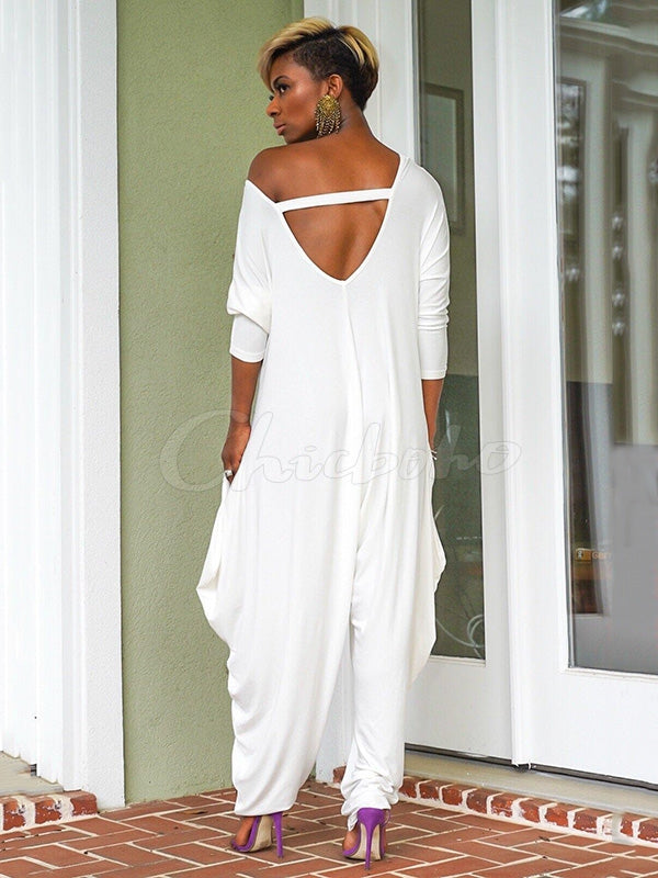 Loose Solid Backless Cropped Jumpsuits