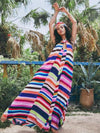 Colorful Striped Backless Maxi Dress