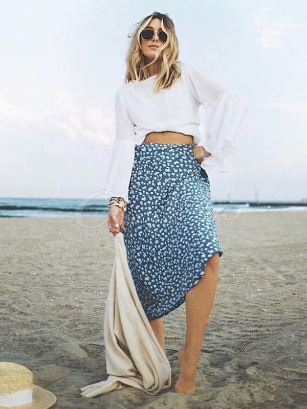 Floral Printed Cropped Skirt