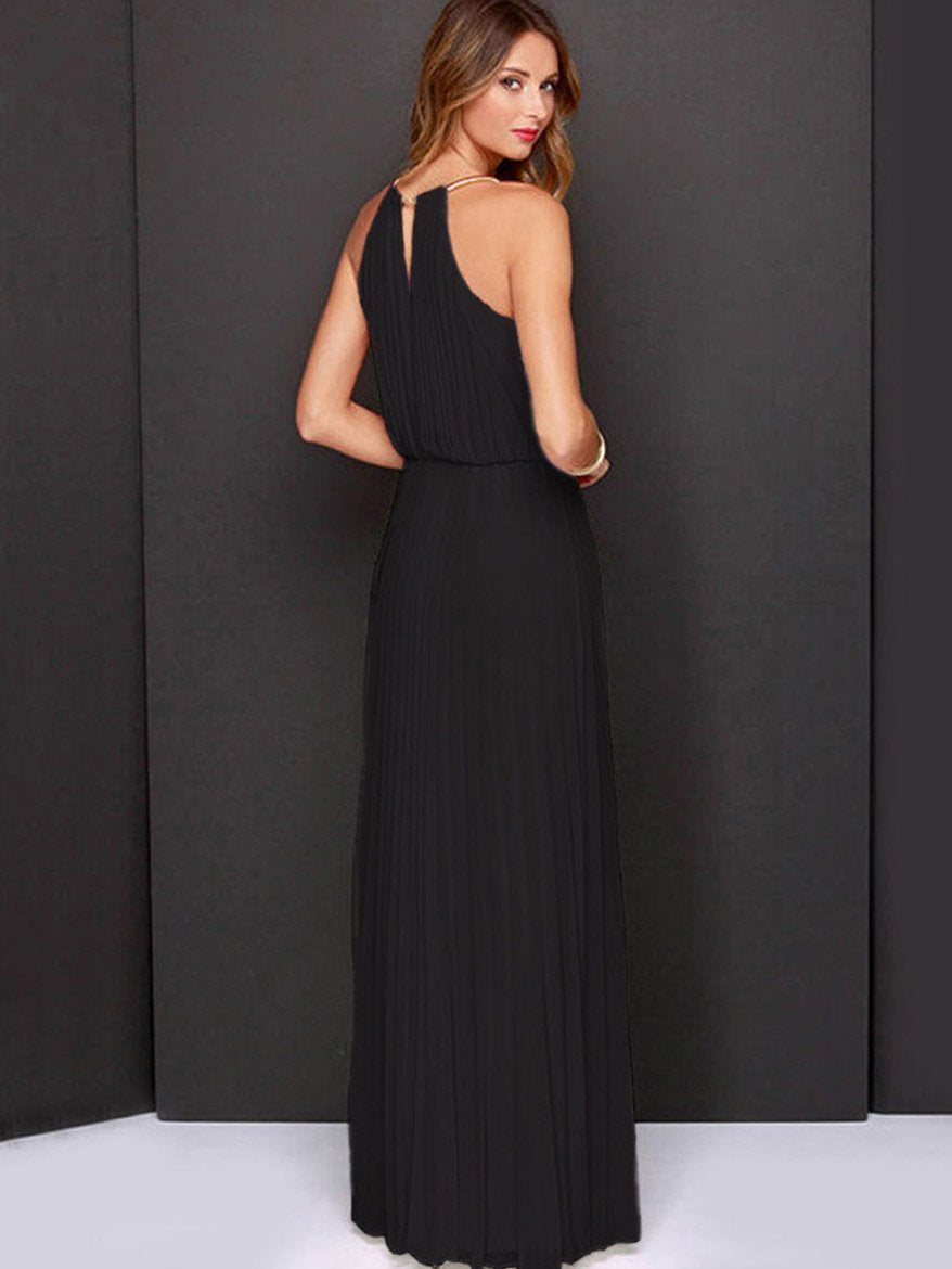 Halterneck Sleevelss Evening Dress