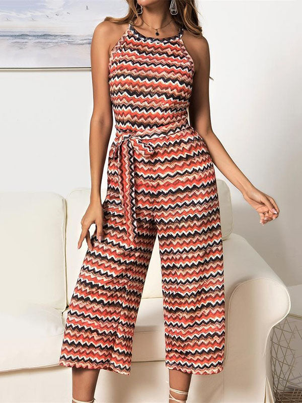 Striped Printed Sleeveless Jumpsuits