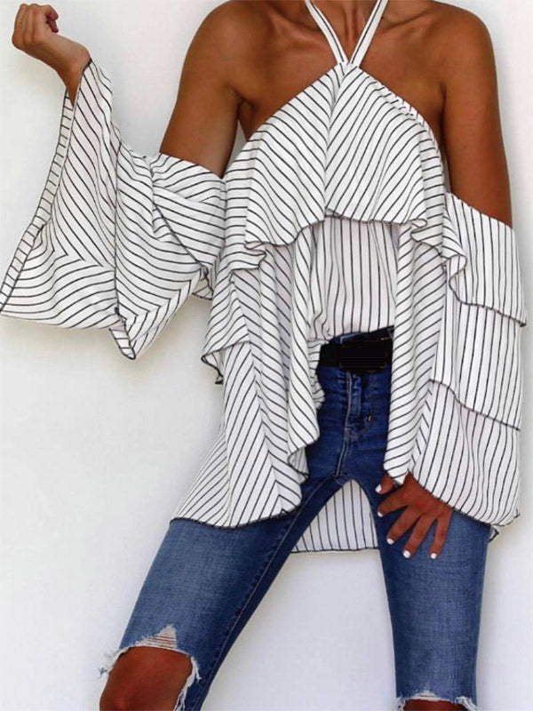 Striped Halterneck Blouses&shirts Tops