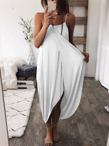 Deep V-neck See-through Puff-sleeves Maxi Dress