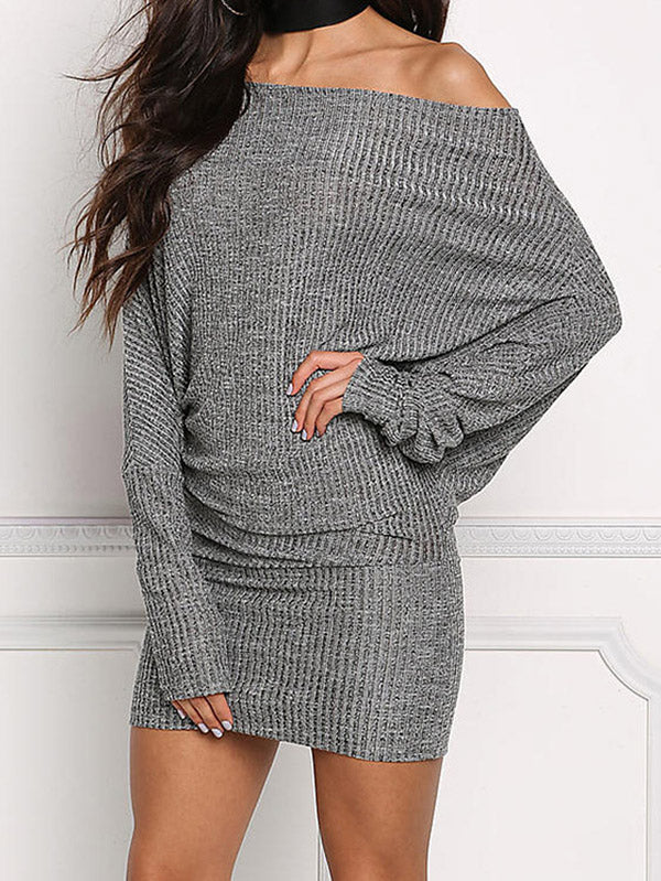 Long Sleeves Off-the-shoulder Bodycon Waisted Mini Dress