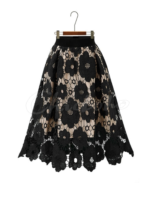 Lace Hollow Crochet Jacquard Skirt