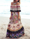 Pretty Chiffon Bohemia Floral Front Split with Tie Long Sleeve Maxi Dress