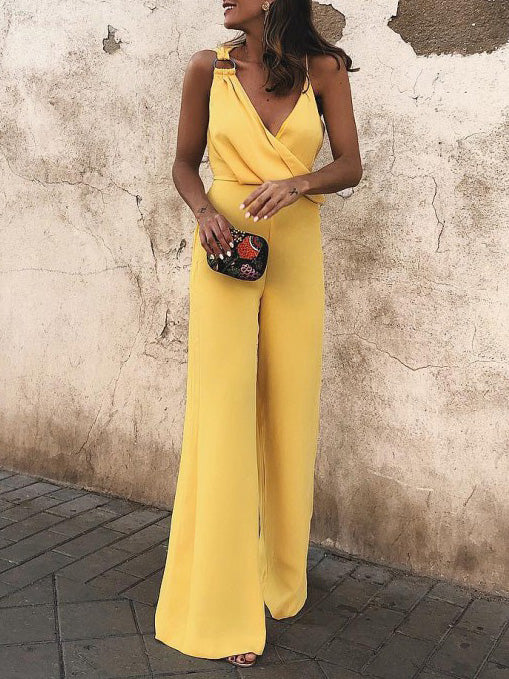 Solid Color Asymmetric Spaghetti-neck Jumpsuits