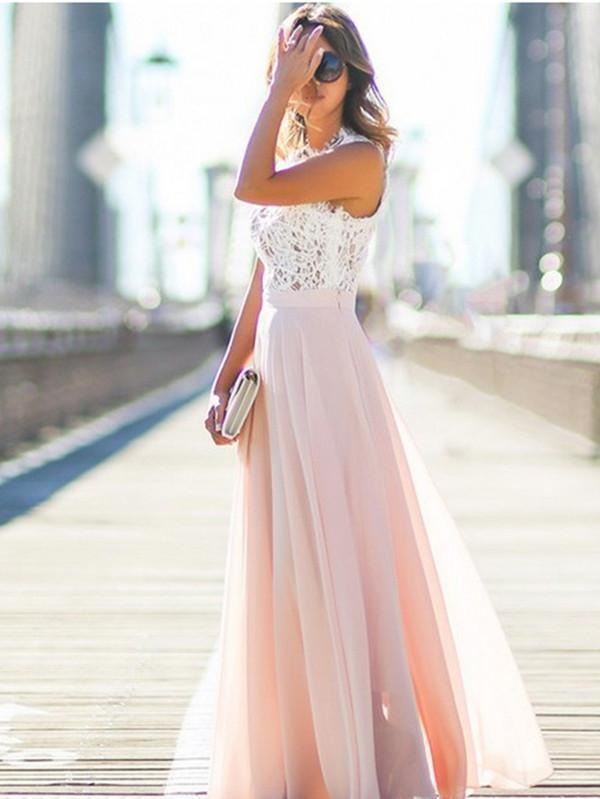 Sweet Lace Sleeveless Small Round Neck Maxi Dress