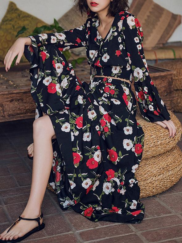 Floral Flared Sleeves Tops And Long Skirt Bottoms