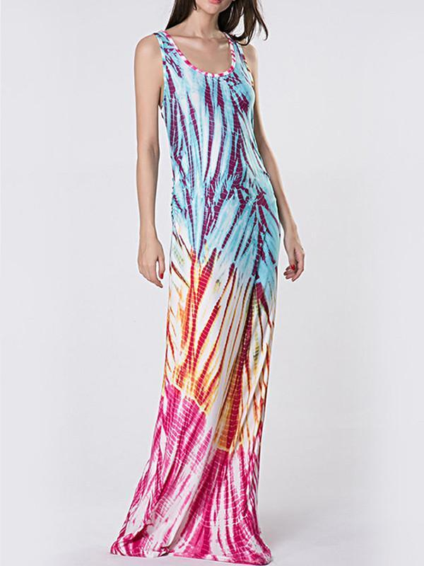 Popular Fashion Floral-Print Sleeveless Round Neck Slim Fit Maxi Dress