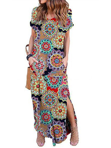 Tassels Round Neck Floral Batwing Sleeves Midi Dress